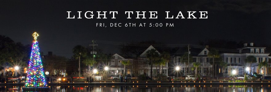 brightly lit outdoor christmas tree on a lake with houses in the background